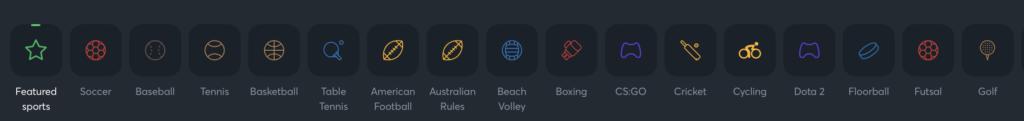 Sportsbet.io betting options